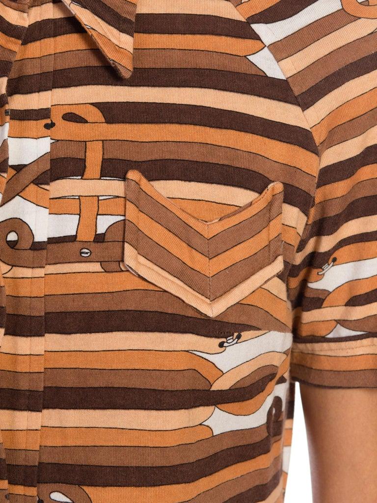Sexy 1970s Cotton Jersey Belt Print Shirt Dress For Sale 7