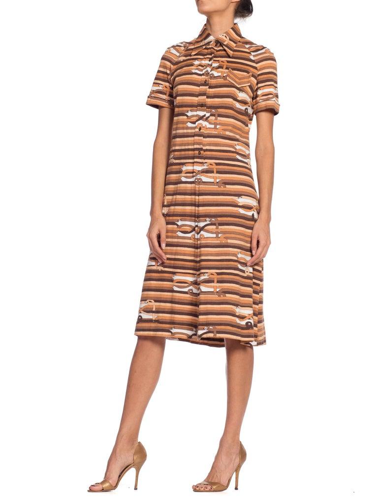 Brown Sexy 1970s Cotton Jersey Belt Print Shirt Dress For Sale