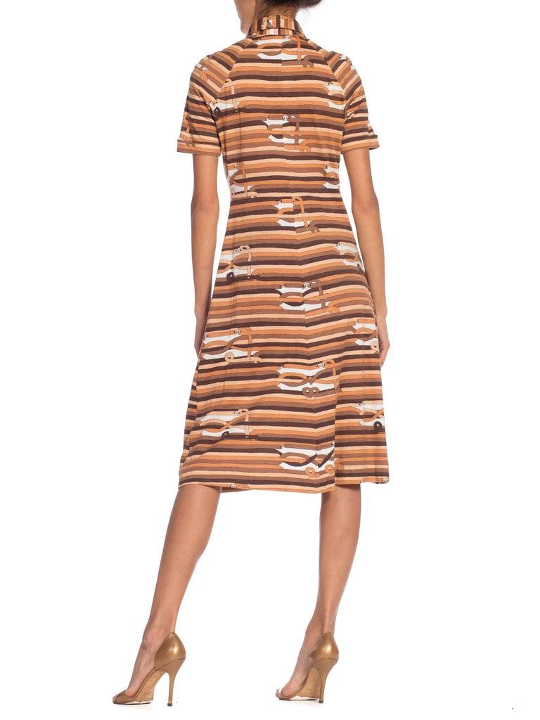 Women's Sexy 1970s Cotton Jersey Belt Print Shirt Dress For Sale