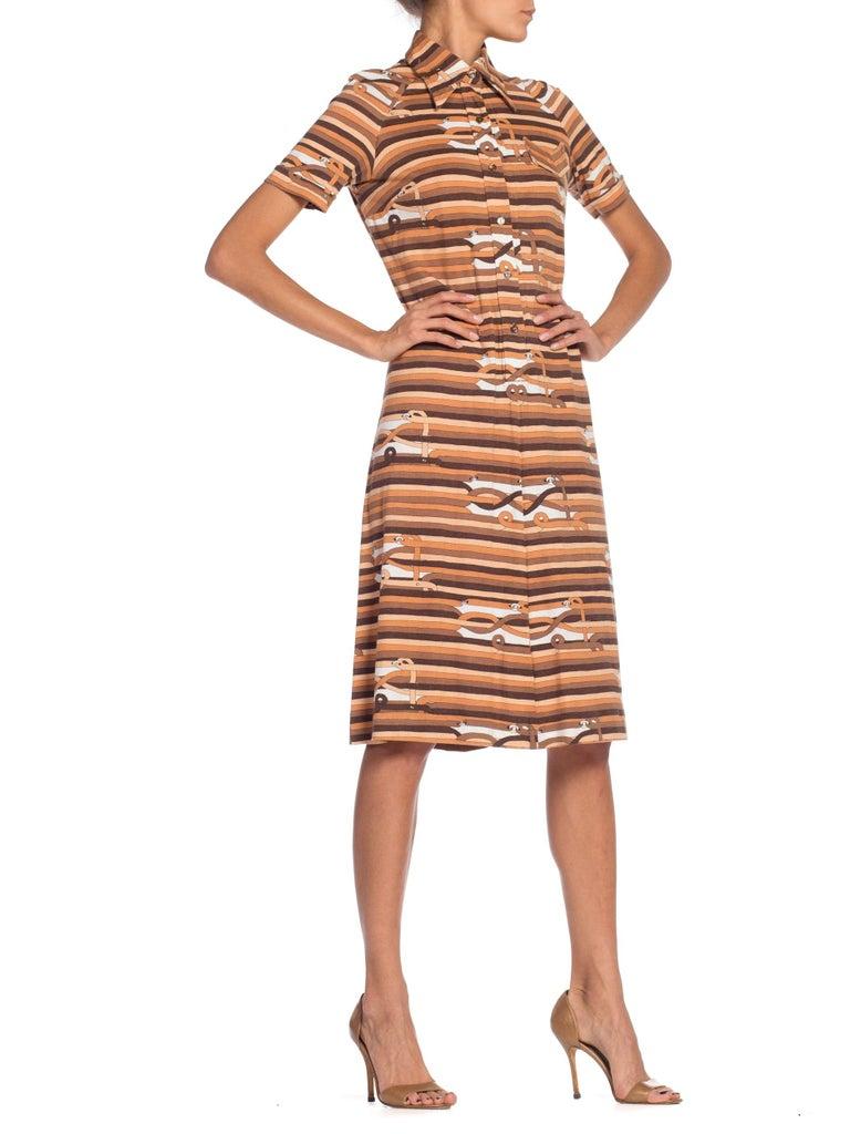 Sexy 1970s Cotton Jersey Belt Print Shirt Dress For Sale 1