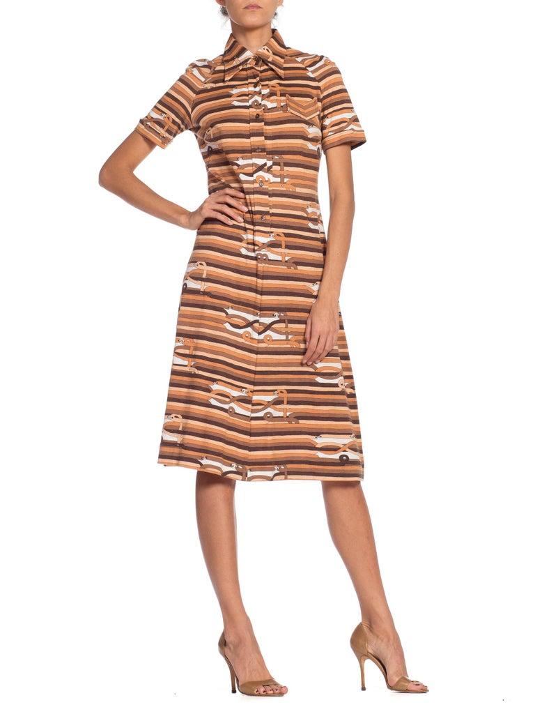 Sexy 1970s Cotton Jersey Belt Print Shirt Dress For Sale 2