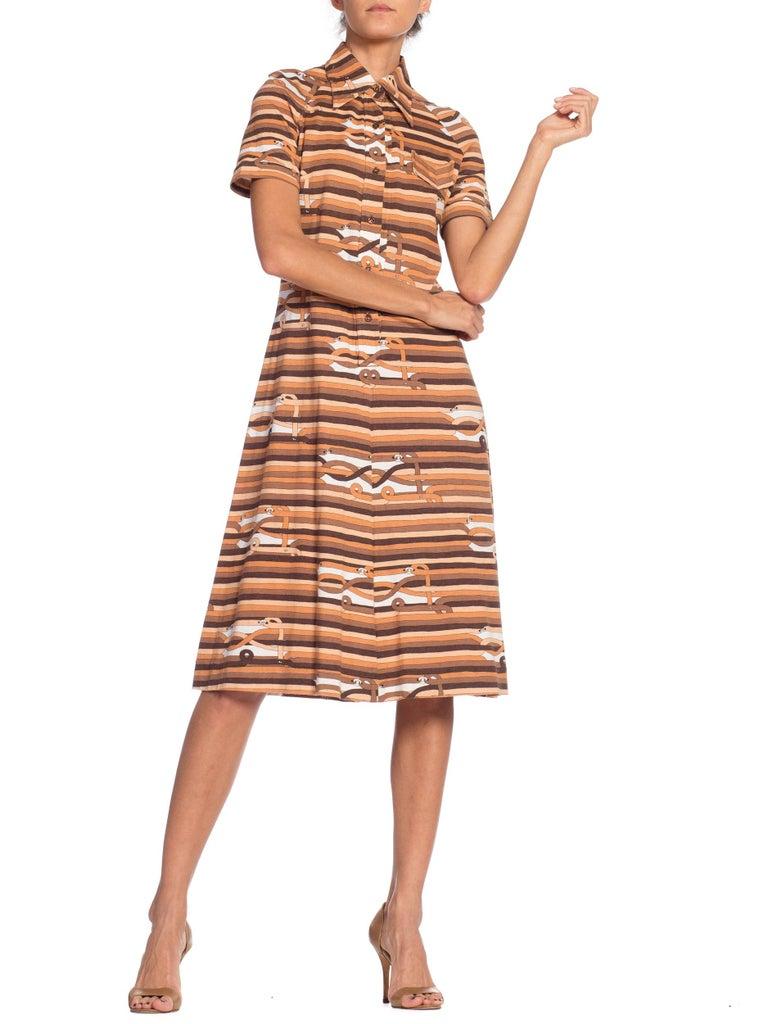 Sexy 1970s Cotton Jersey Belt Print Shirt Dress For Sale 3