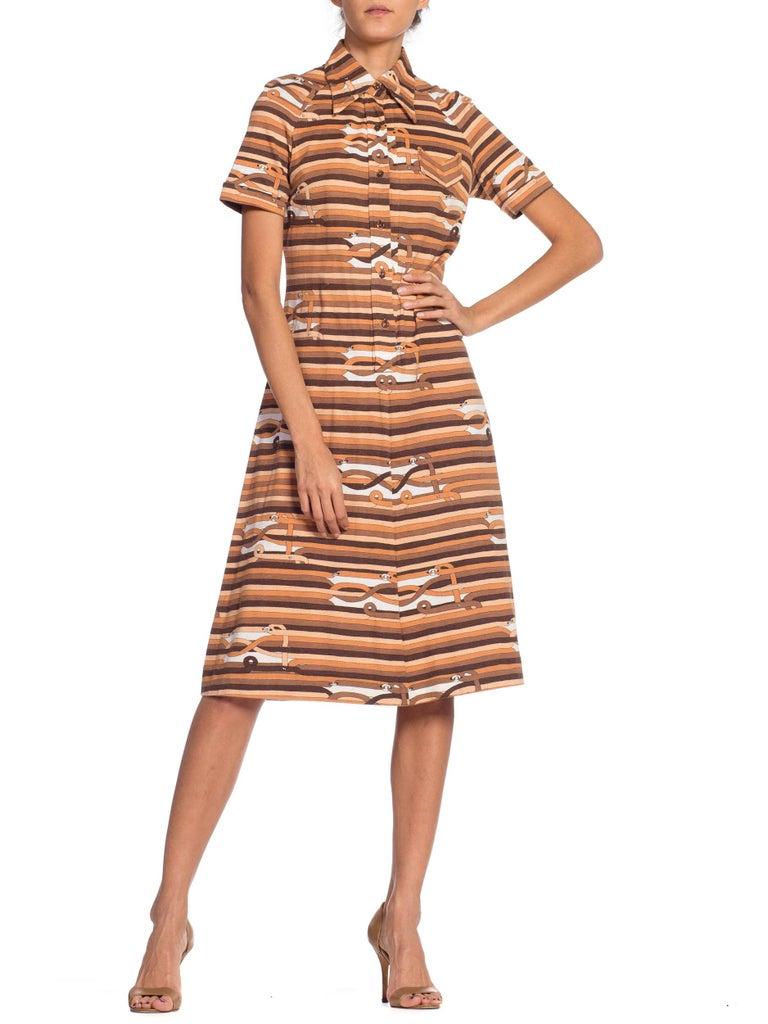 Sexy 1970s Cotton Jersey Belt Print Shirt Dress For Sale 4