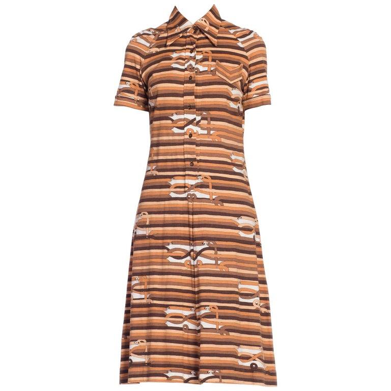 Sexy 1970s Cotton Jersey Belt Print Shirt Dress For Sale