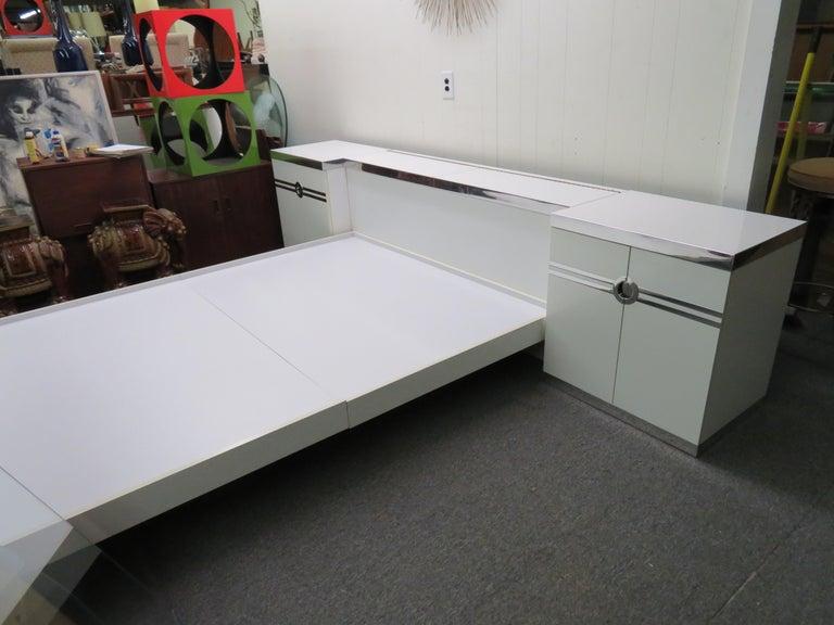 Sexy 1970s Pierre Cardin Queen Size Bed Headboard Nightstands Mid-Century Modern For Sale 5