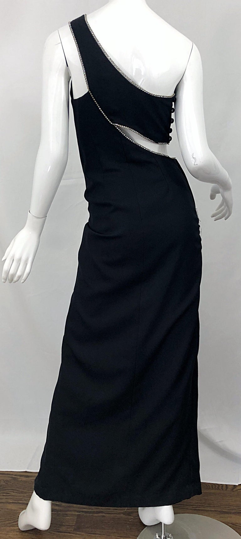 Sexy 1990s Size 6 / 8 Black Crepe Rayon + Rhinestones One Shoulder Cut Out Gown For Sale 6
