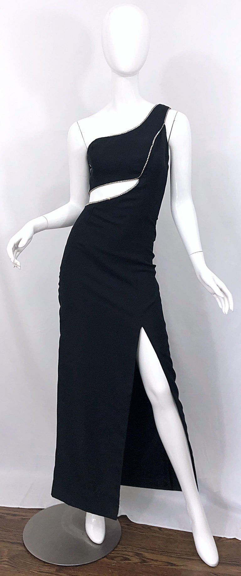 Sexy 1990s Size 6 / 8 Black Crepe Rayon + Rhinestones One Shoulder Cut Out Gown For Sale 7
