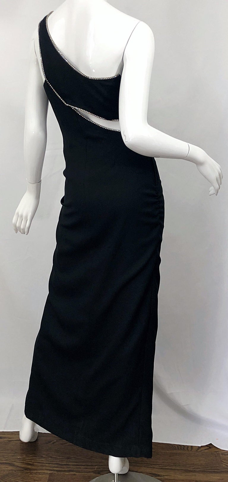 Women's Sexy 1990s Size 6 / 8 Black Crepe Rayon + Rhinestones One Shoulder Cut Out Gown For Sale