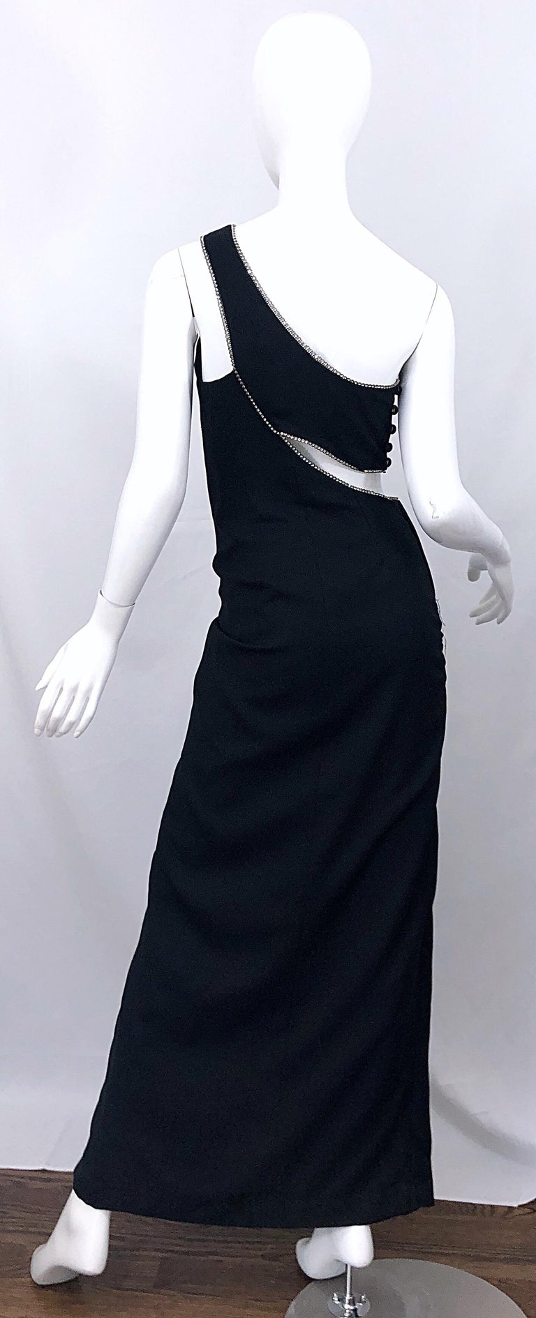 Sexy 1990s Size 6 / 8 Black Crepe Rayon + Rhinestones One Shoulder Cut Out Gown For Sale 1