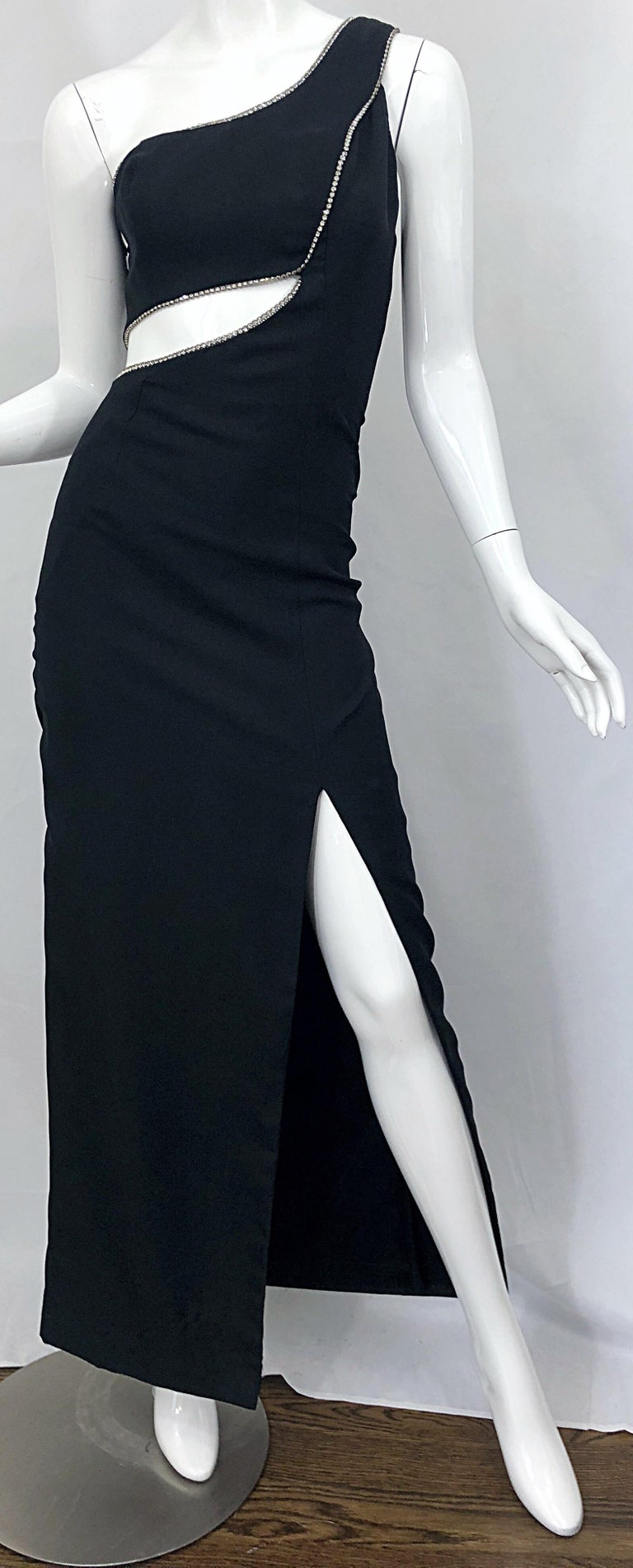 Sexy 1990s Size 6 / 8 Black Crepe Rayon + Rhinestones One Shoulder Cut Out Gown For Sale 3