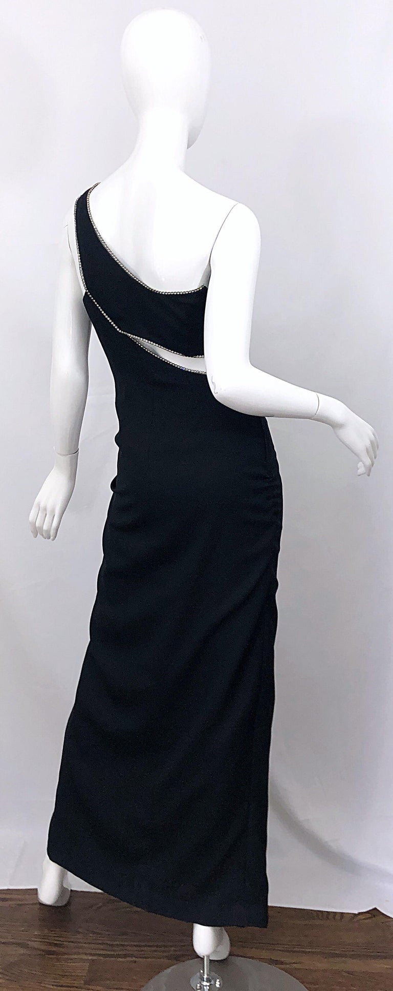 Sexy 1990s Size 6 / 8 Black Crepe Rayon + Rhinestones One Shoulder Cut Out Gown For Sale 4