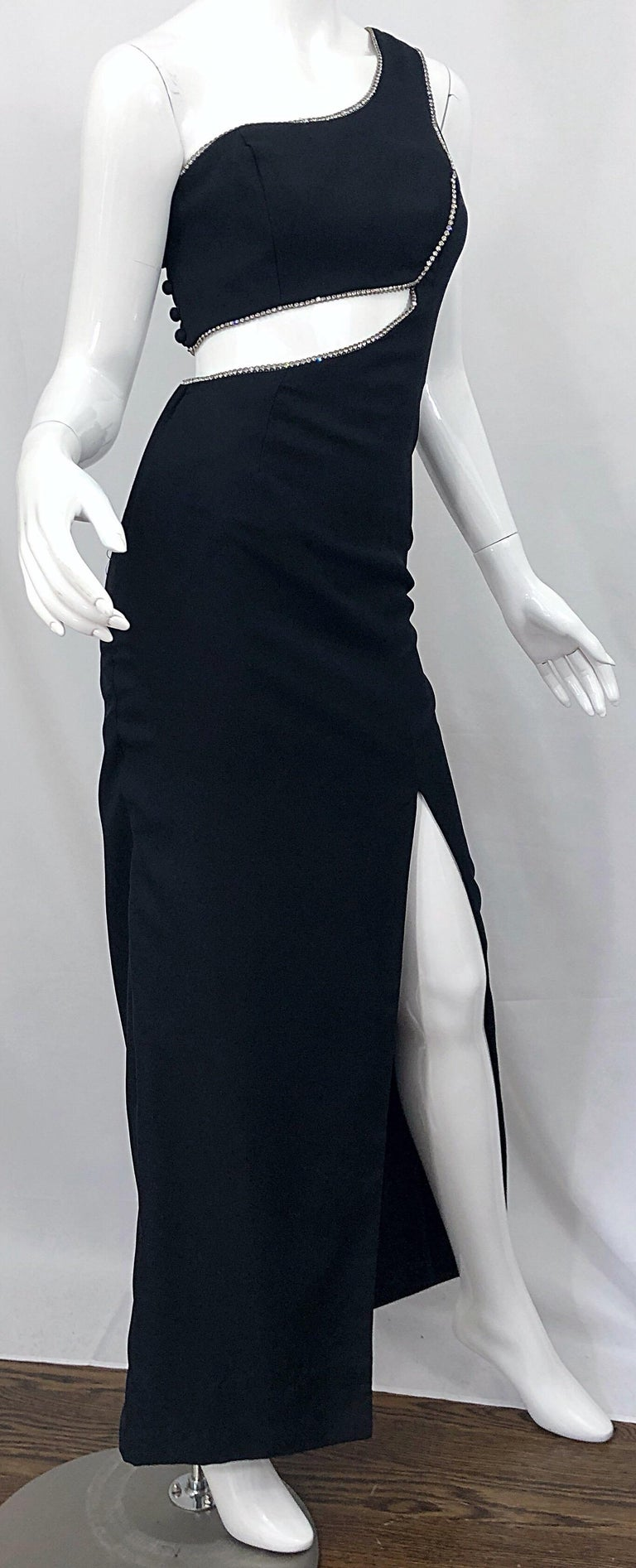 Sexy 1990s Size 6 / 8 Black Crepe Rayon + Rhinestones One Shoulder Cut Out Gown For Sale 5