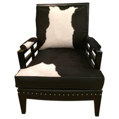 Sexy Black and White Leather Cowhide Club Chair