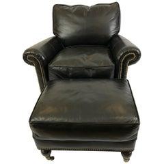 Sexy Black Leather Custom Club Chair and Ottoman