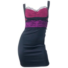 Sexy Roberto Cavalli 2000s Fuchsia Purple + Pink + Black Silk Lace Mini Dress