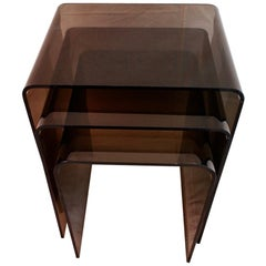Sexy Set of Three Nesting Side Lucite Tables