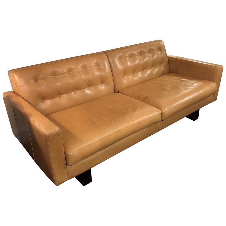 Sexy Supple Cognac Mid Century Modern Style Leather Sofa For Sale At