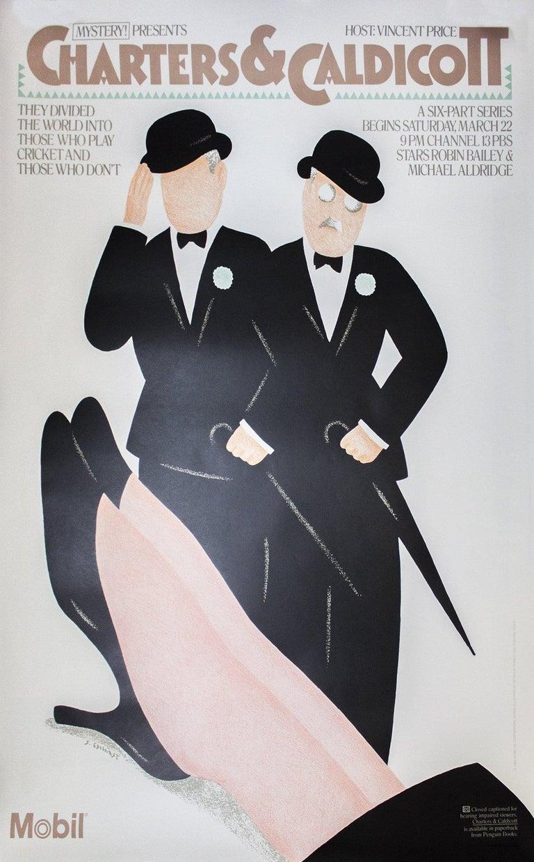 1986 Seymour Chwast 'Charters & Caldicott' Vintage Black & White,Brown USA Litho - Print by Seymour Chwast