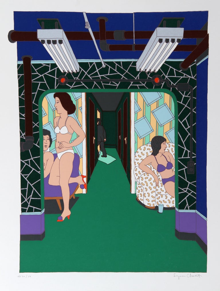 Artist: Seymour Chwast Title: The Massage Parlor Year: circa 1979  Medium: Serigraph, signed and numbered in pencil Edition: 250, AP 50  Image Size: 26 x 18.5 inches  Paper Size: 30 in. x 23.5 in. (76.2 cm x 59.69 cm)