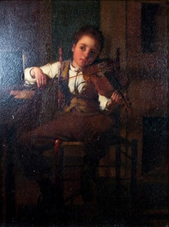 """The Gamut,"" Oil on Panel Portrait of Child playing the Violin by Seymour Guy"