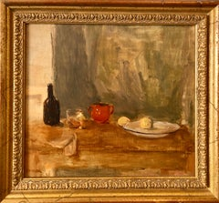 Seymour Remenick Still Life Table Scape Oil Painting with Bottle and Fruit
