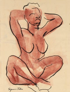 Mid Century Seated Figure Sketch in Ink and Pastel