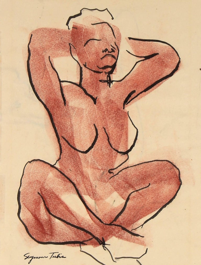 Seated Figure Sketch in Ink and Pastel, Mid Century
