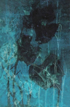 """April"" 1971 Original Mixed Media Print in Turquoise"