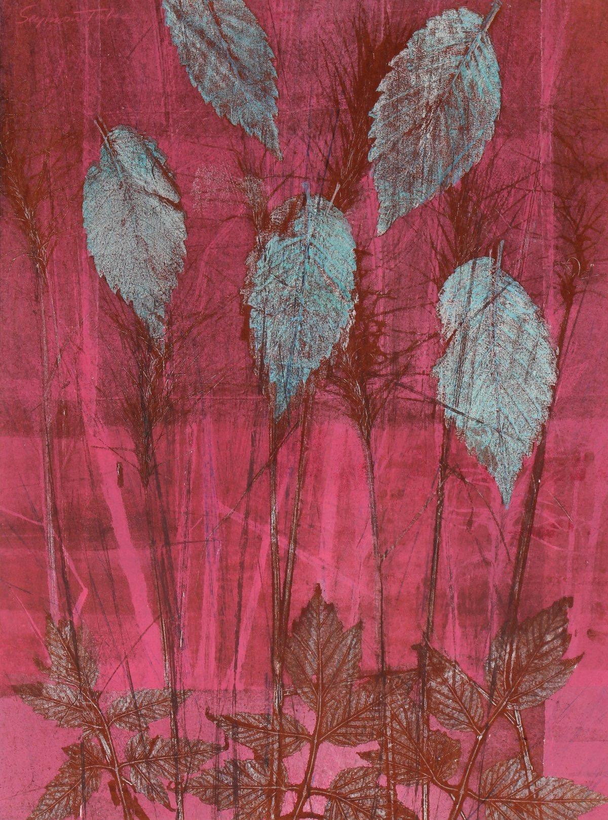 """""""December"""" 1971 Original Mixed Media Print in Turquoise and Pink"""