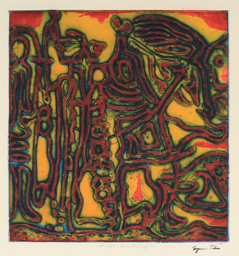 """Seymour Tubis Abstract Print - """"Flight of the Female Chauvinist"""" Collograph on Paper in Warm Colors"""