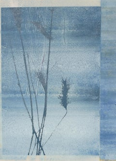 """Morning Frost"", Mixed Media Nature Print with Wheat Plants in Blue"
