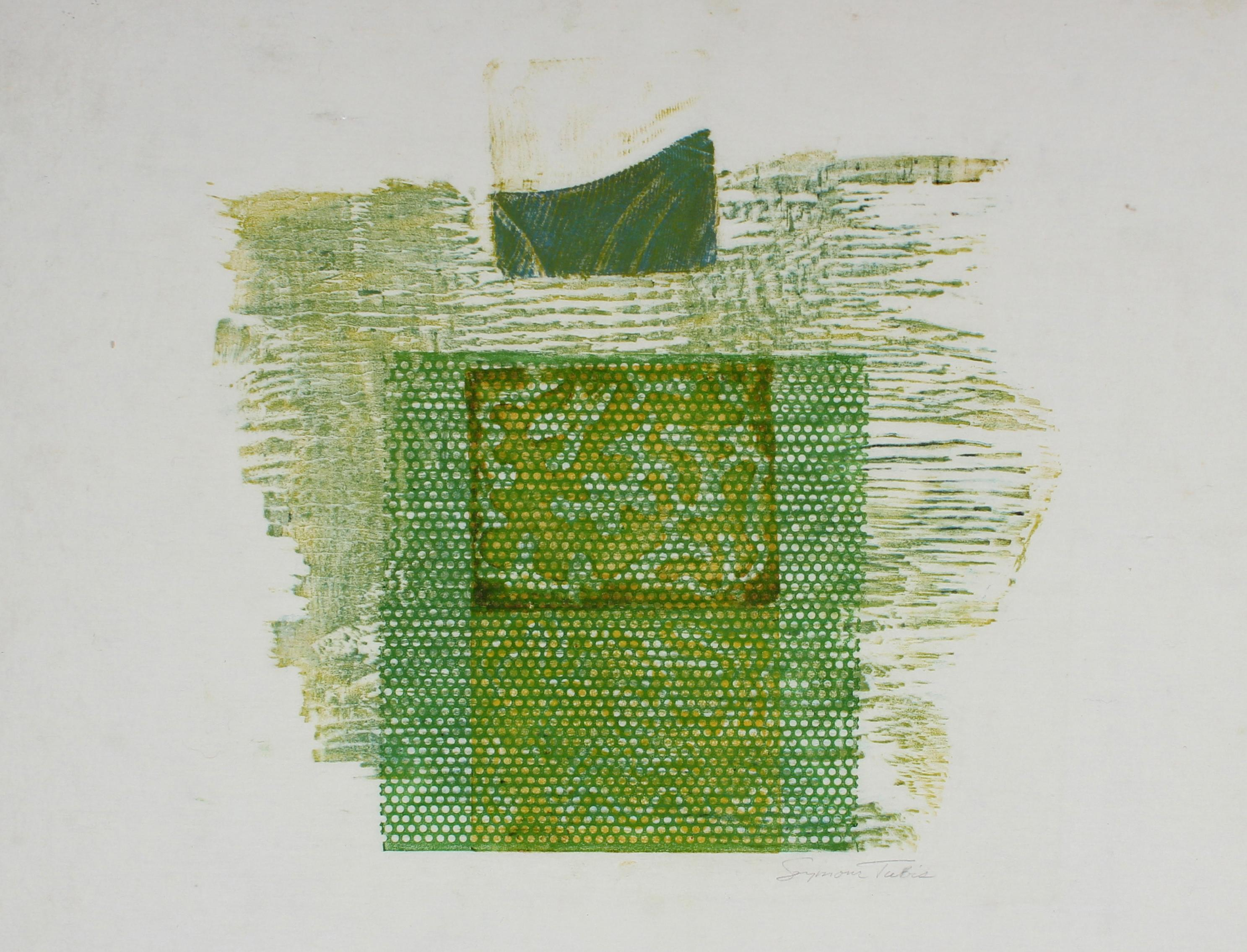 Organic Textured Abstract in Green, Mixed Media Woodcut Print