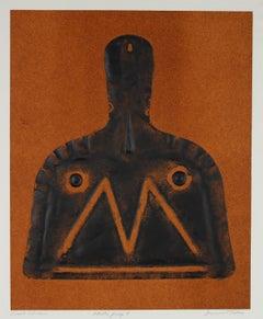 """Pueblo Woman"" Collograph on Paper in Rust Orange"