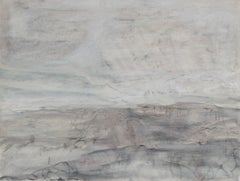 """A Gray Day on the Mesa I"" Monochromatic Oil and Graphite Painting, Circa 1978"