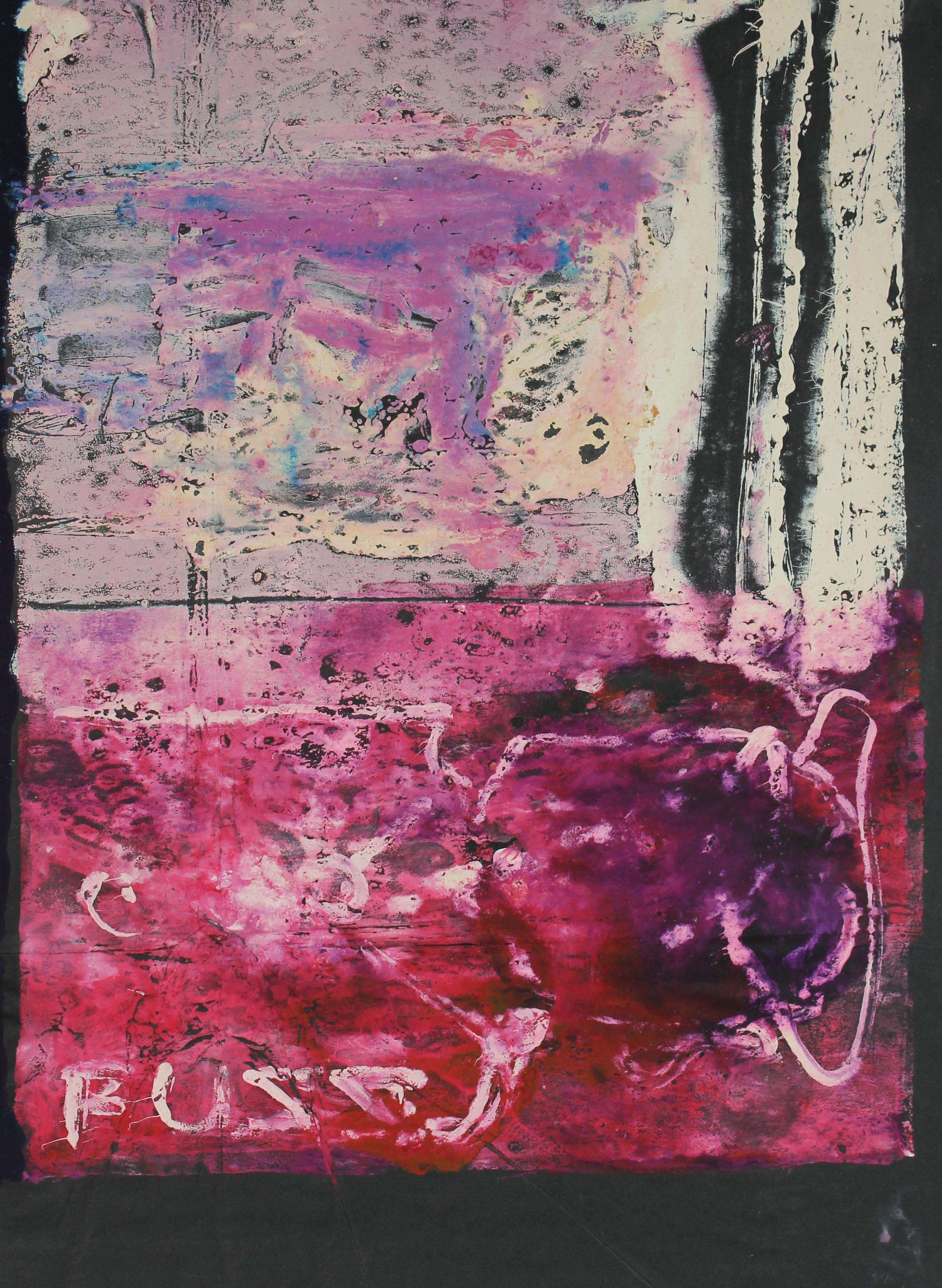 Bright Abstract Dye Transfer Print on Paper in Pink Red Purple Black and Gray