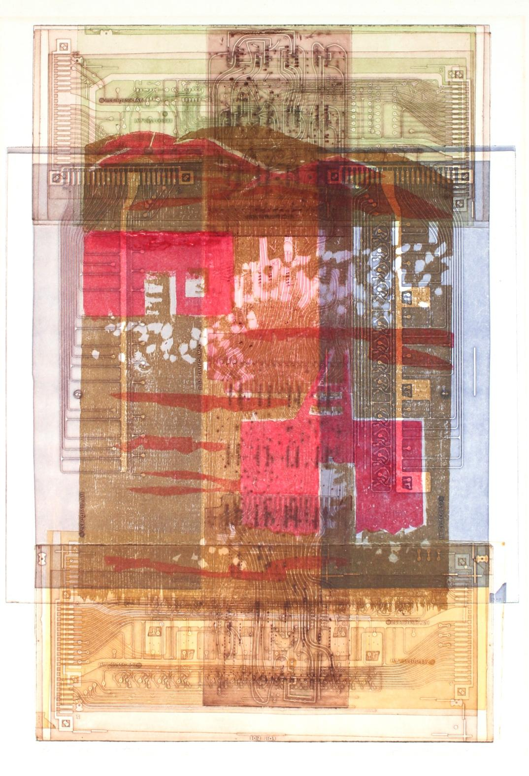 Colorful Abstract Etching and Woodcut on Paper with Pink