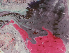 """Comsos X"" Abstract Painting in Pink and Gray, Oil on Paper, Circa 1979"