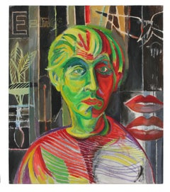 Fauvist Self Portrait of the Artist, Oil on Canvas Painting