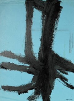 Minimal Abstract in Black and Blue, Ink on Paper, 20th Century