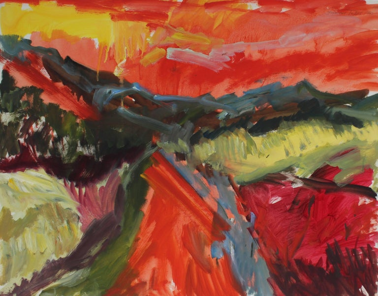 """""""New Mexico"""" Abstracted Desert Landscape in Oil, 1960"""