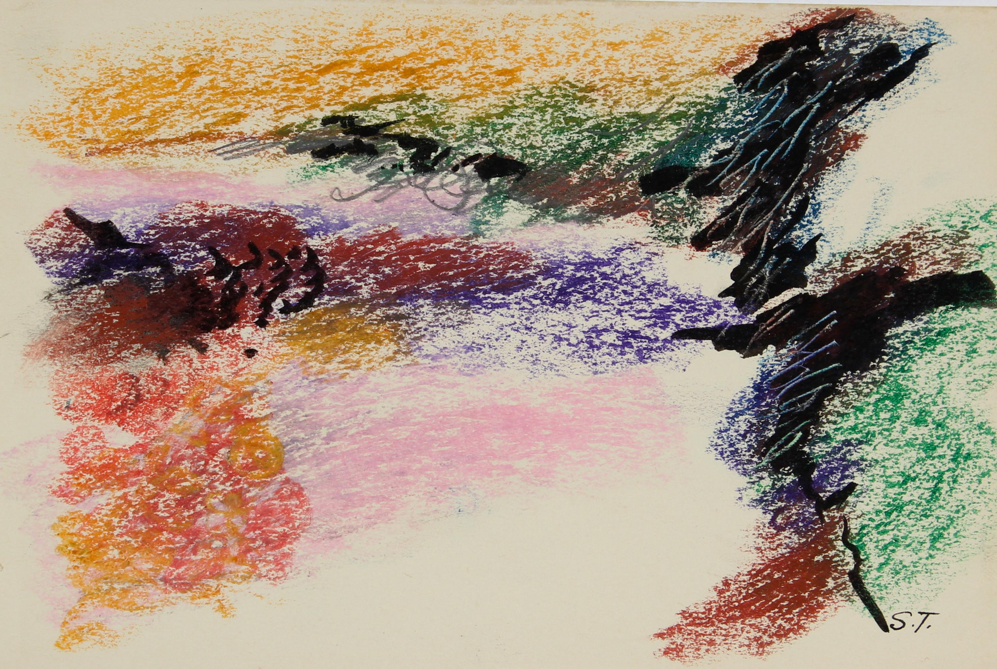 """""""Sketch for Anemone Series #4"""" Colorful Pastel Abstract"""