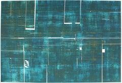 """Antarctica Metamorphosis"" Large Abstract Print in Teal, 20th Century"