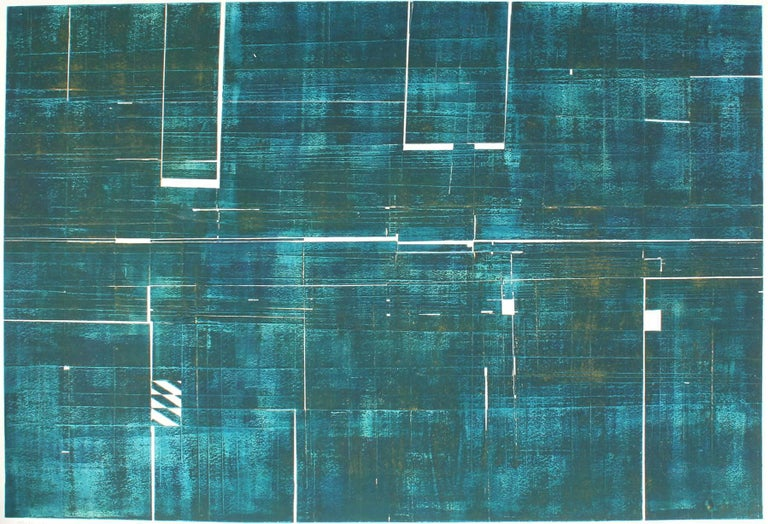 """This mid 20th century teal abstract collograph and embossed print entitled """"Antarctica Metamorphosis"""" is by Santa Fe artist Seymour Tubis (1919-1993). Tubis studied at the Art Students League with Hans Hofmann (1946-1949). He exhibited in Paris in"""