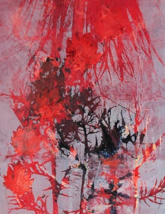 """""""August"""" Abstract Mixed Media Nature Print with Bright Red, Circa 1971"""