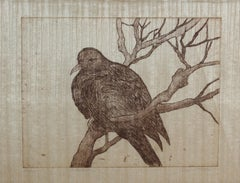 Metallic Gold Dove on a Tree Branch, Lithograph Print on Papyrus, 20th Century