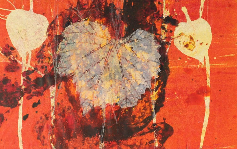 """October"" Mixed Media Print with Leaves, Circa 1971"