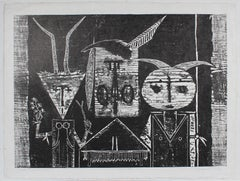 """Pueblo Ceremonial Trio"" Black & White Woodblock Print, Circa 1968"