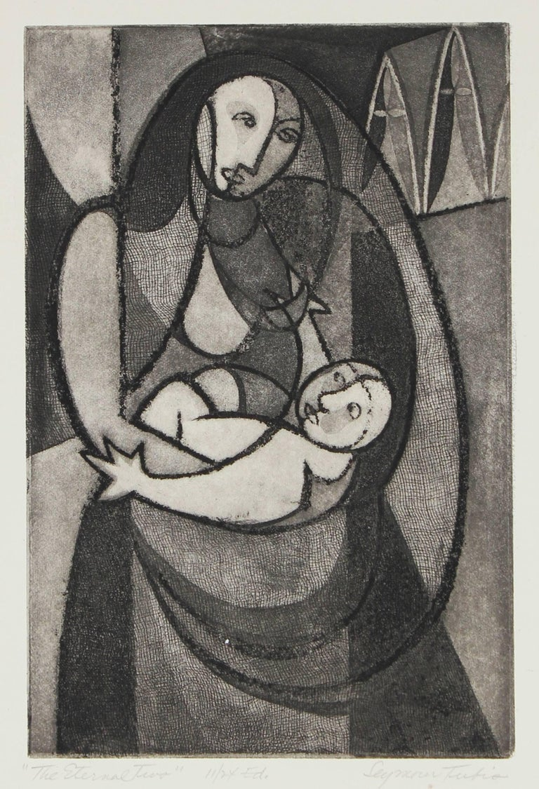 """The Eternal Two"" Madonna and Child, Etching on Paper, Late 1940s"