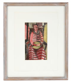 """Woman in Striped Dress"" 1949 Modern Portrait Etching in Red in a Metallic Frame"