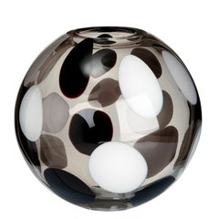 Sfera Vase with White, Grey and Black Spots by Carlo Moretti